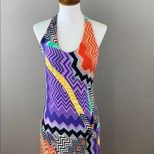Calvin Klein tribal print v neck halter maxi dress